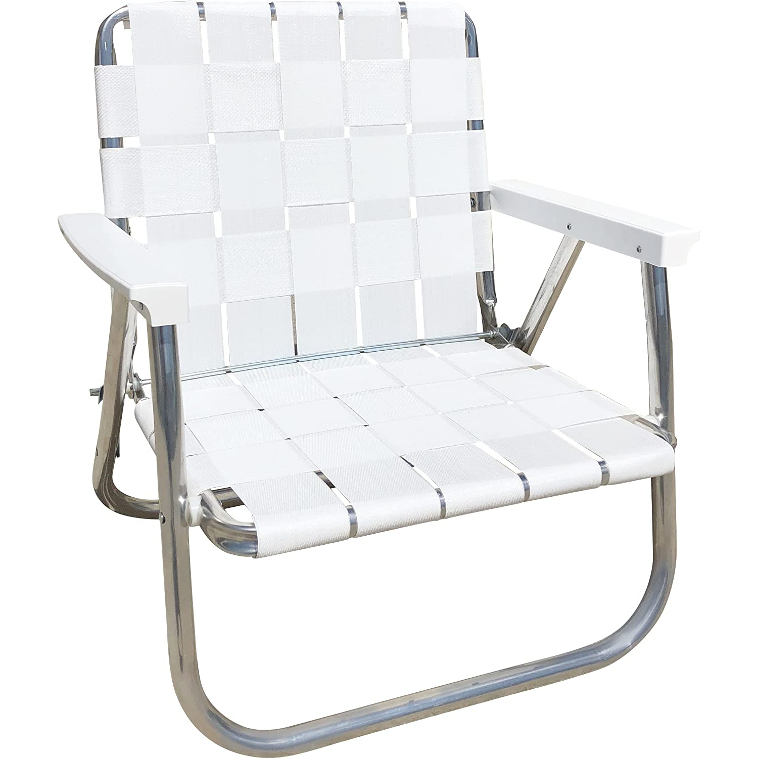 Bright White Low Back Beach Chair Lawn Chair USA Aluminum Webbed Chair (Deluxe, Bright White)