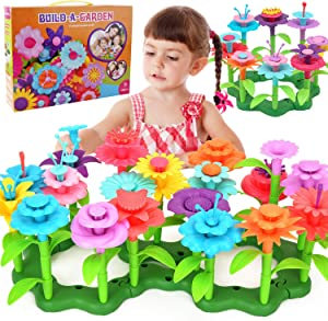 Happytime Flower Garden Building Toy Set 148 Pcs Build a Bouquet Floral Arrangement Playset Pretend Gardening Blocks Educational Creative Craft Toys for 3, 4, 5, 6 7 8 Year Old Toddlers Kids Girls