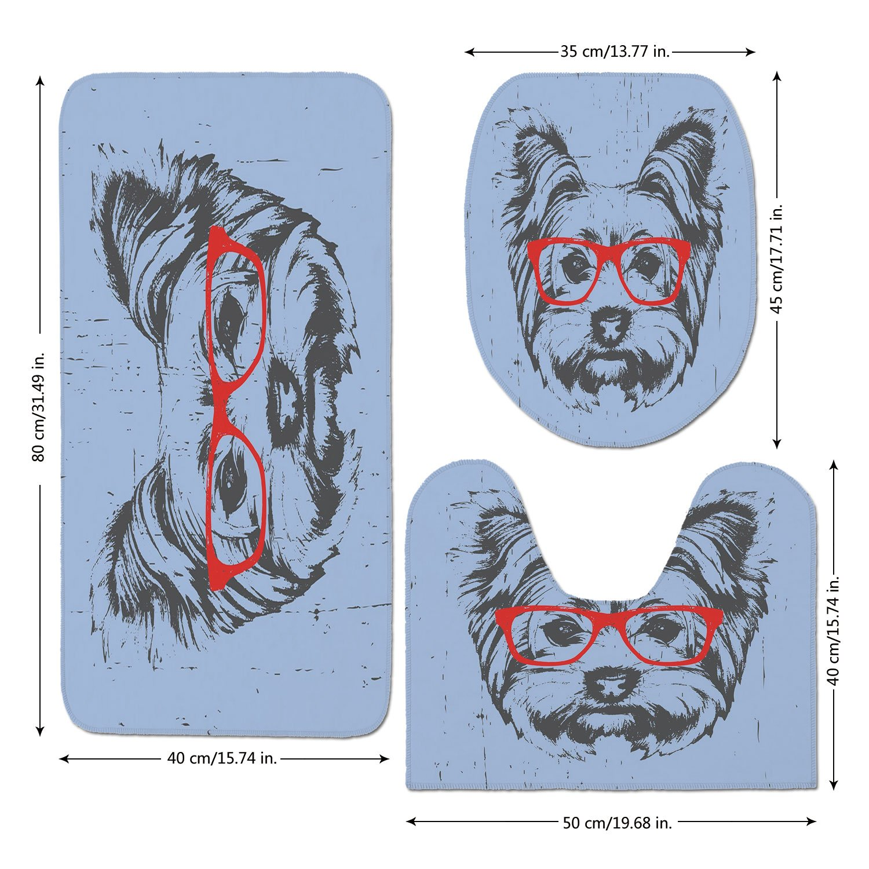 3 Piece Bathroom Mat Set,Yorkie,Yorkshire Terrier Portrait Red Nerd Glasses Tainted Backdrop Animal,Pale Blue Grey Vermilion,Bath Mat,Bathroom Carpet Rug,Non-Slip