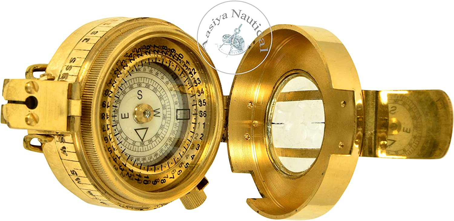 Vintage Old Style Military Compass Nautical Pocket Shiny Brass British Prismatic Compass an