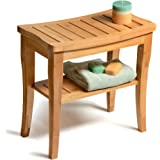 Bamboo Shower Stool Bench with Storage Shelf, Deluxe Wooden Shower Spa Chair Seat Bench for Indoor or Outdoor, Perfect Home Decor Gift Idea.