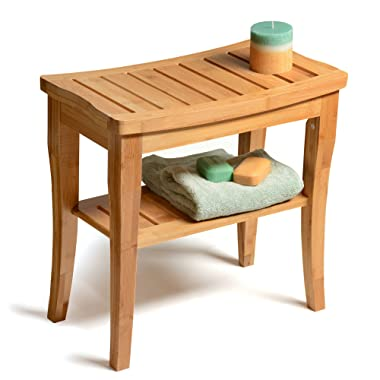 Bamboo Shower Seat Bench with Shelf - Wooden Bathroom Seat Stool   Spa Chair for Indoor or Outdoor Use