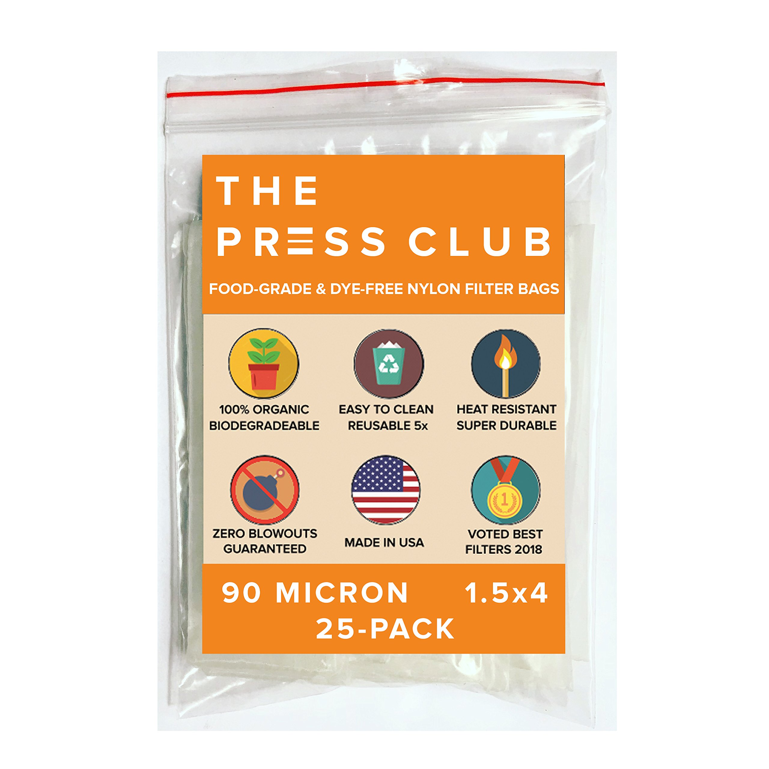 90 Micron   Premium Nylon Tea Filter Press Screen Bags   1.5'' x 4''   25 Pack   Zero Blowout Guarantee   All Micron & Sizes Available by The Press Club