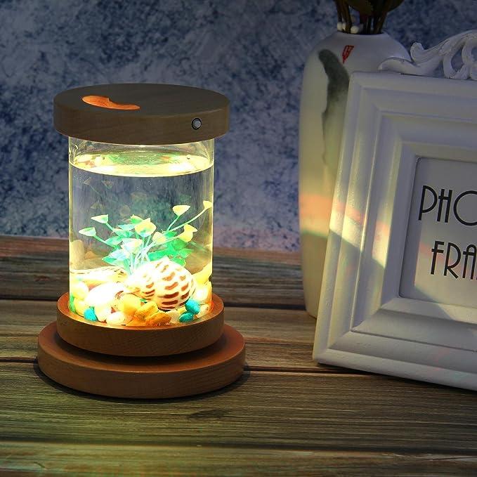Teepao Betta - Kit de acuario de sobremesa con cilindro giratorio para acuario Betta con iluminación LED de 7 colores, base de madera y recargable, ...