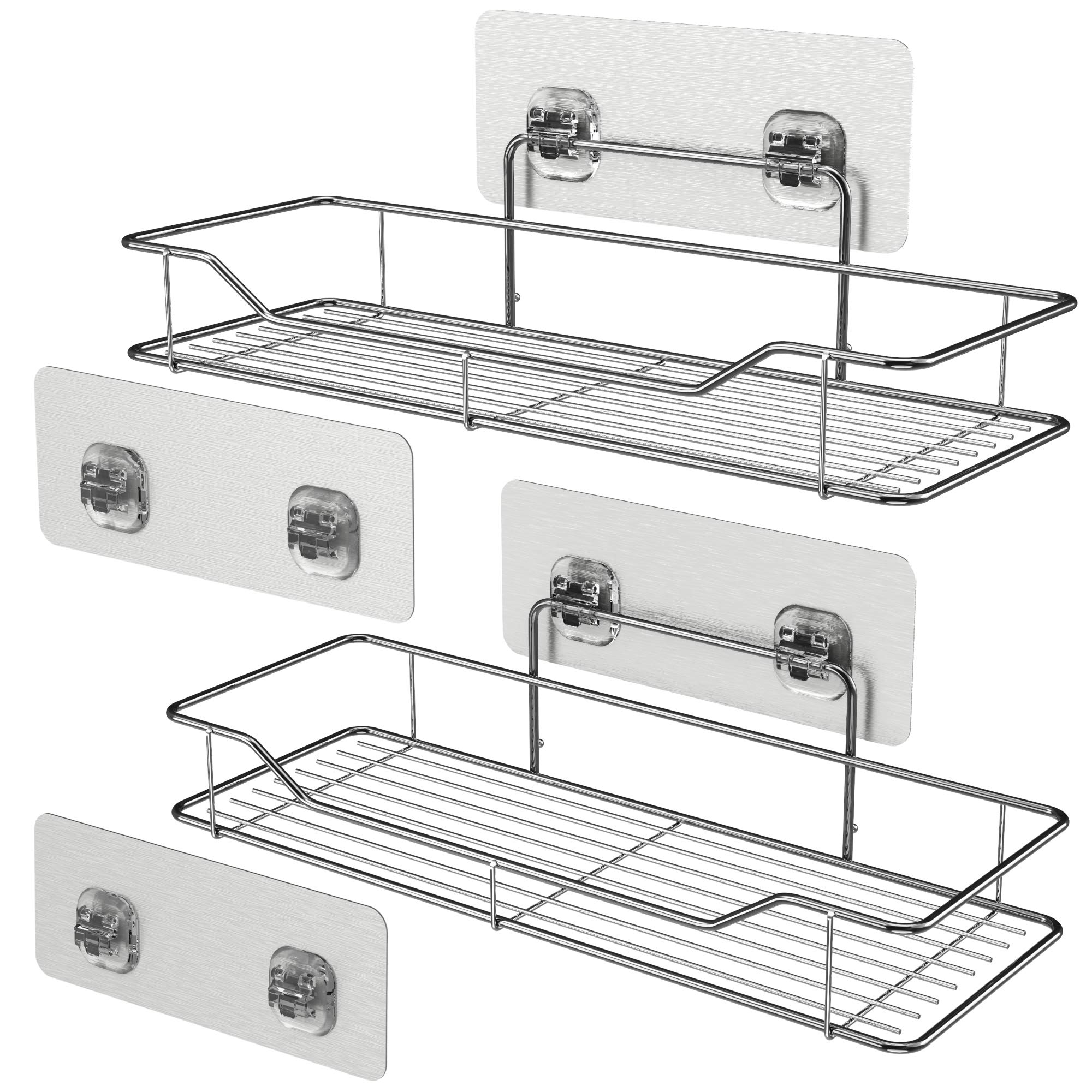 Bathroom Shelves, Veckle Adhesive Shower Caddy Shelf Traceless Wall Mounted Kitchen Rack No Drilling Storage Organizer Stainless Steel Shelf 2 Pack