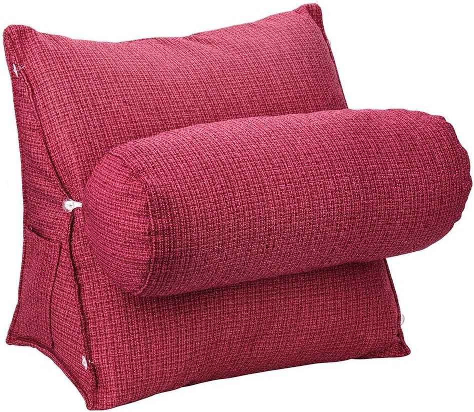 HALOViE Almohada lumbar espalda almohadilla de cuña ajustable Sofá cama Silla de oficina coche cojín Ortopédico Ergonómico Mejora de la Postura desmontable 47 x 45 x 23cm