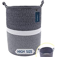 "COMSE Extra Large Blanket Basket, Storage Basket, Tall Rope Laundry Basket, High Cotton Rope Basket, 15.7""x 21.7"", XXXL…"