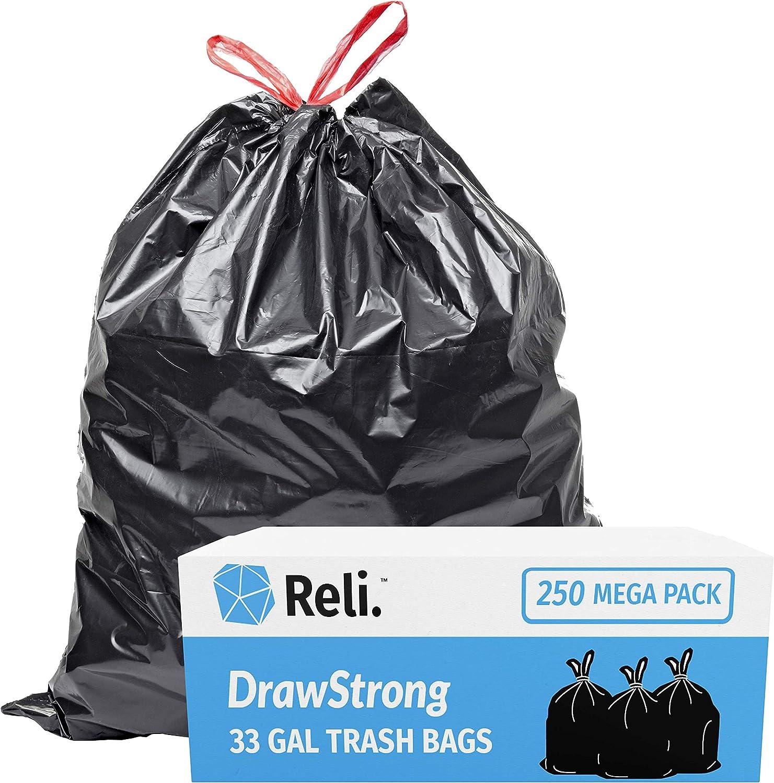 Reli. 30 Gallon Trash Bags Drawstring (250 Count Bulk) Large 30 Gallon Garbage Bags Drawstring - Black Heavy Duty Drawstring Trash Bags 30 Gal, Multipurpose