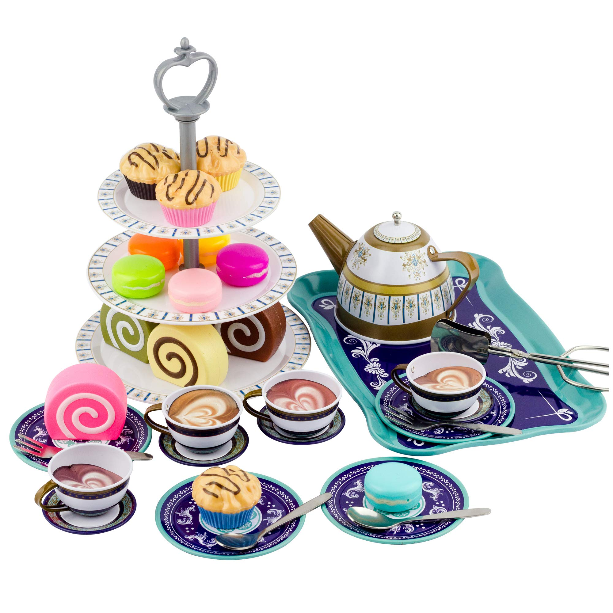 Liberty Imports Deluxe Afternoon Tin Tea Set with Cake Stand and Dessert Play Food - Metalware Playset for Four (39 Pieces) by Liberty Imports