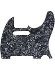 Musiclily 8 Hole Guitar Tele Pickguard Scratch Plate for USA/Mexican Fender Standard Telecaster Modern Style, 4Ply Black Pearl