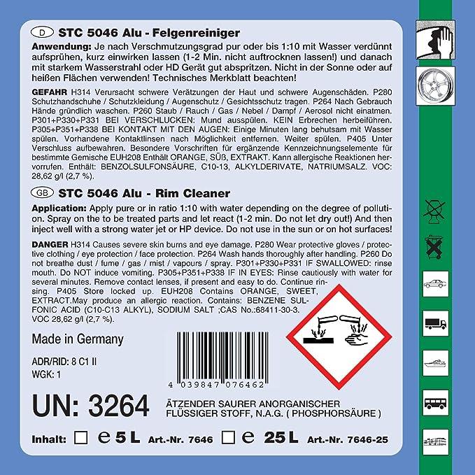 Stc 5 L 5046 Alu Felgenreiniger Plus Konzentrat Bis 1 10 Saurer Spezial Reiniger Intensivreiniger Auto