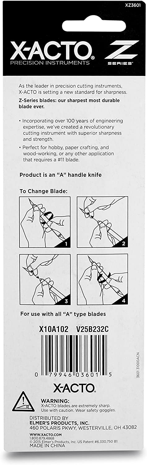 X-Acto #1 Precision Knife   Z-Series, Craft Knife, with Safety Cap, #11 Fine Point Blade, Easy-Change Blade System