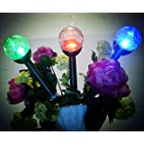Solar Lights Outdoor Garden Decorations Decorative Stake Light,3 Color Crackle Glass Globe, for Patio Yard Pathway Landscape