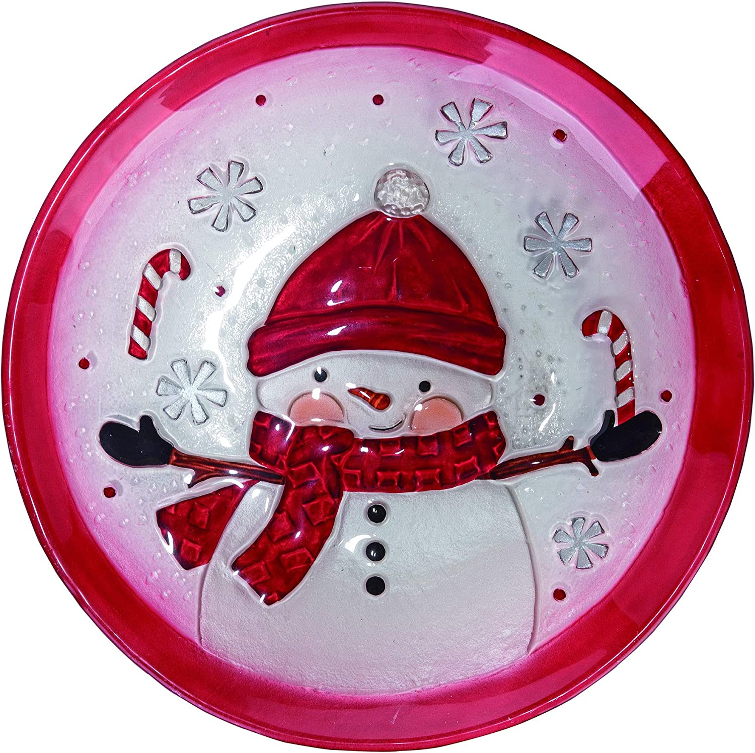 Transpac - Glass Snowman with Candy Canes Plate