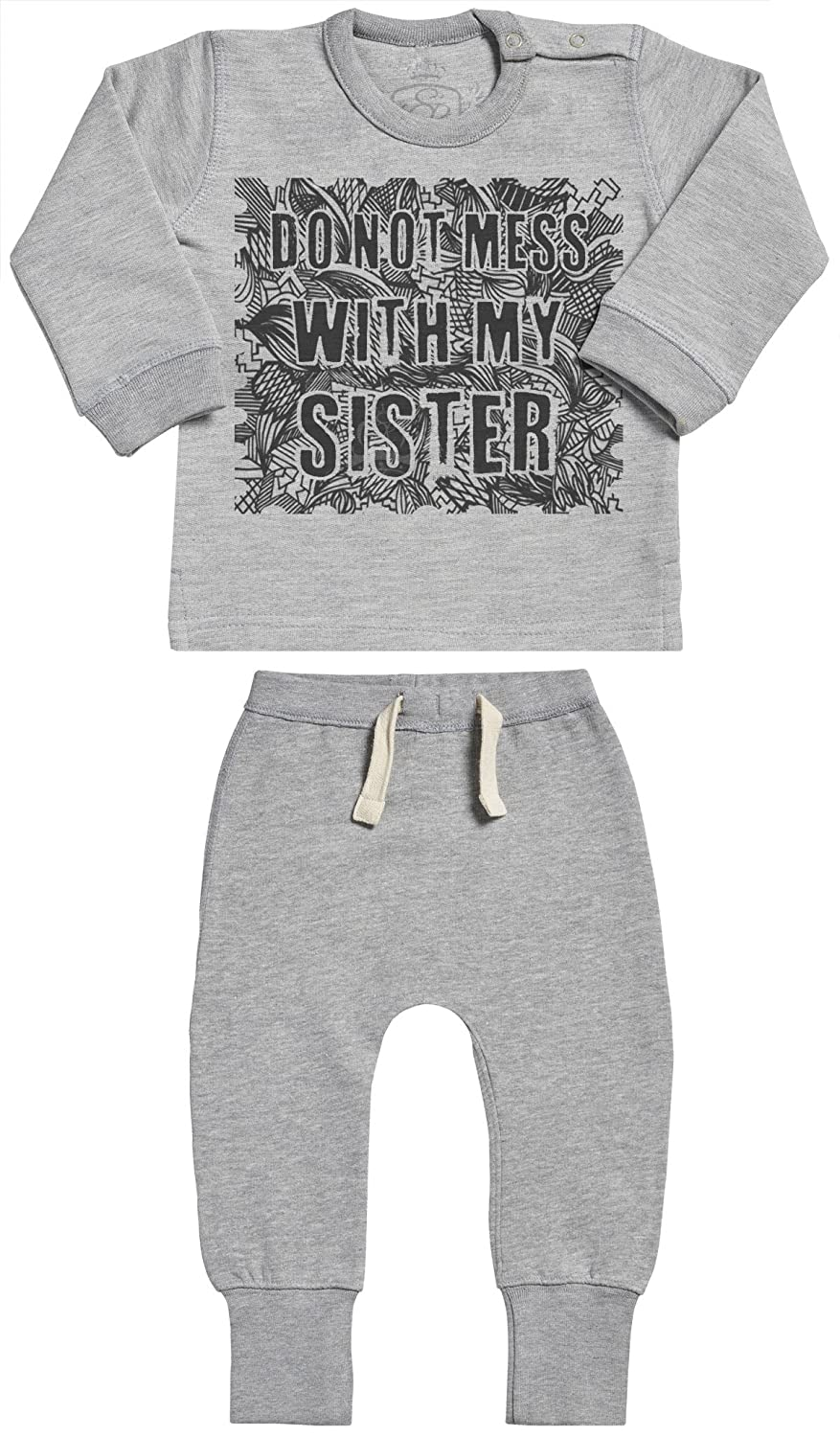 Baby Clothing Outfit Do Not Mess With My Sister Baby Outfit Baby Gift Set SR Baby Sweater /& Baby Joggers