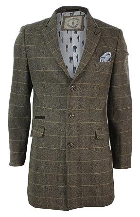 328e85e6cad3 Manteau homme veste 3 4 laine mélangée tweed à chevrons marron clair style  rétro vintage