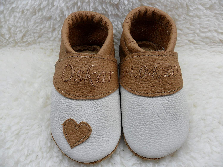 Annes-Lederpuschen Krabbelschuhe mit Namen Taufschuhe Babyschuhe personalisiert Lederpuschen Jungen Geburtsgeschenk weiß/beige