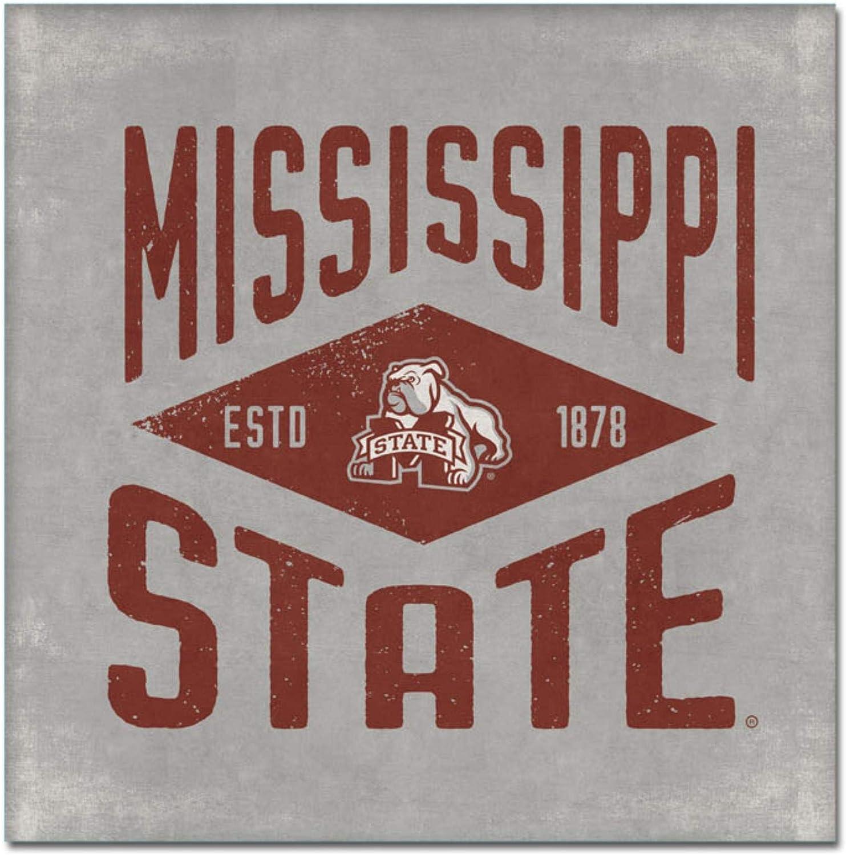 One Size Custom NCAA Legacy Mississippi State Bulldogs Mini Canvas Art 9x9