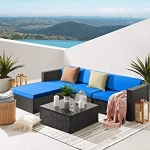 Waleaf Upgraded Outdoor Furniture Rattan Sectional Patio Sofa, Outdoor Indoor Backyard Porch Garden Poolside Balcony Wicker Conversation Set with Glass Table (5 Pieces, Navy Blue)