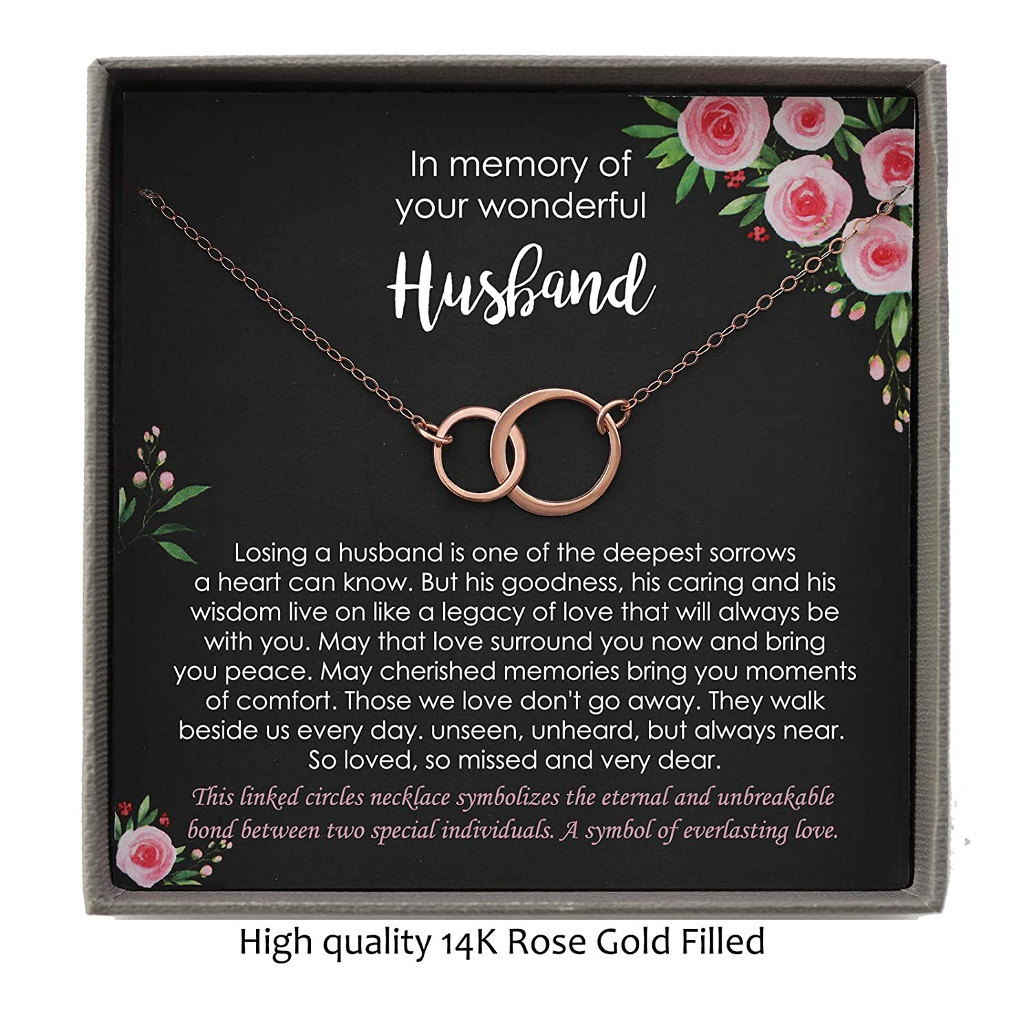 Loss of Husband Sympathy Gift 2 Interlocking Circles Necklace with Meaningful Message Bereavement Gifts for Loss of Husband