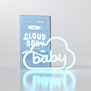 Doe Cloud Baby LED Neon Light Signs - Sign Wall Hanging Decor. Aesthetic & Cool Blue Lamp Lights for Home, Bedroom, Kids Room, Girls Room, Living Room.