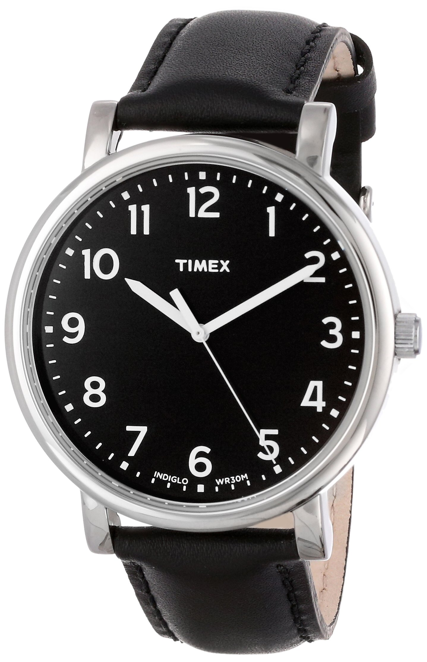 Timex Unisex T2N339AB Originals Easy Reader Black Dial Silver-Tone Case Black Leather Strap Watch