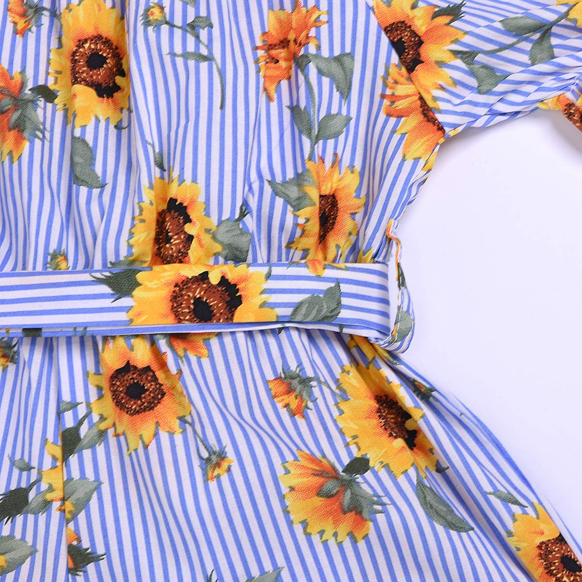 NEEXIJI Toddler Baby Girl Sunflowers Print Romper Summer One Piece Short Jumpsuit with Belt