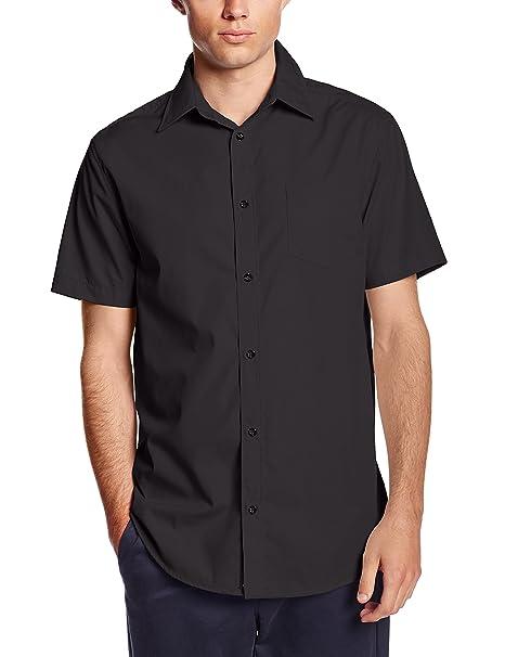 black short sleeve button down