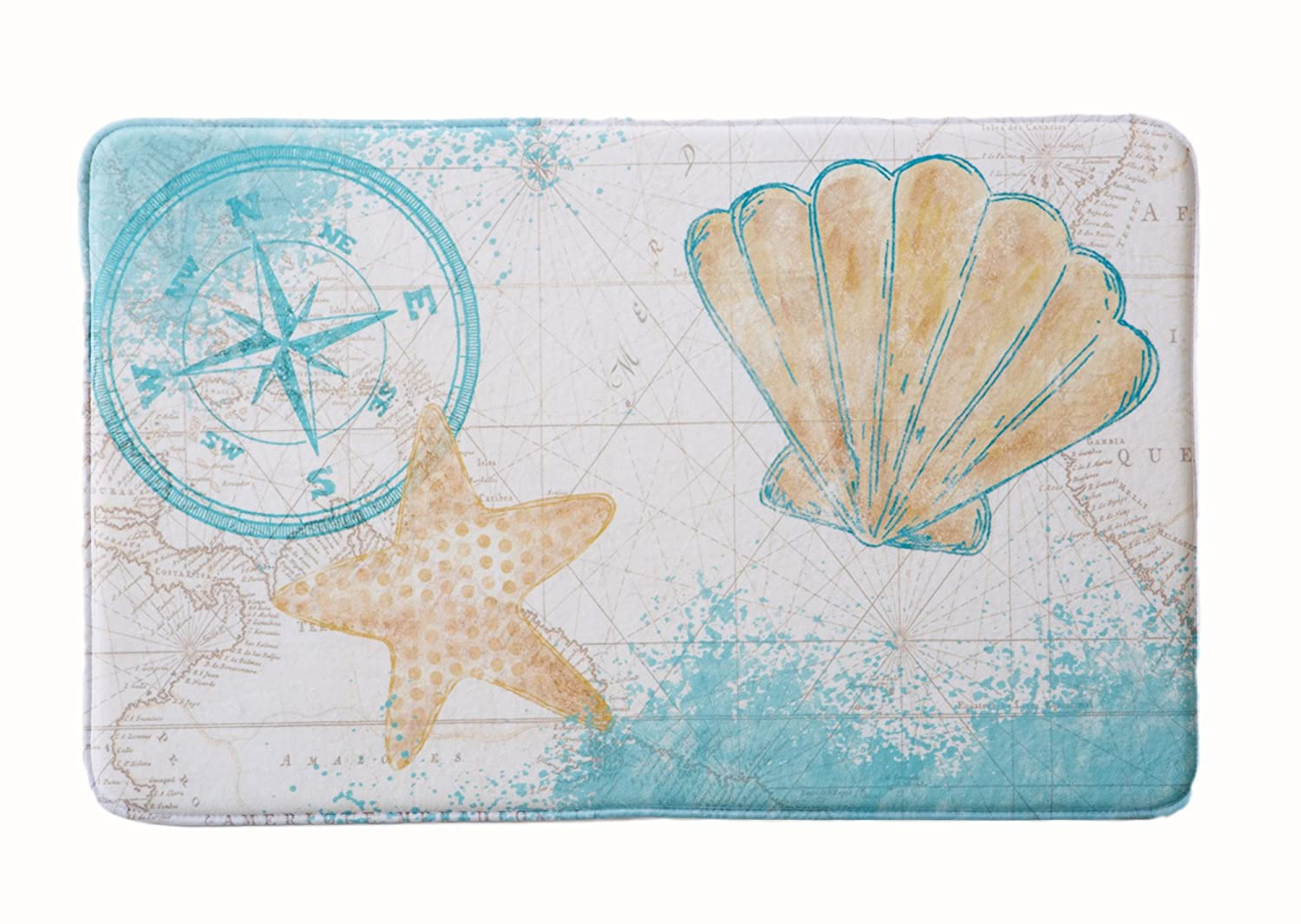 Coastal Printed Memory Foam Anti-Fatigue Bath Mat