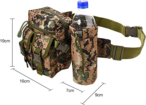 Marr/ón Claro RETON Bolsa de Cintura Militar Paquete de Cintura para Actividades al Aire Libre con Soporte para Botellas para Acampar Caminando Senderismo Pesca de Caza
