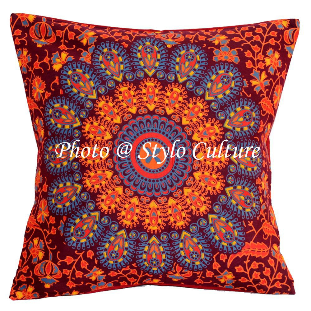 Stylo Culture Indian Printed Peacock Eye Accent Pillow Case Cotton Maroon 40x40 cm Traditional Mandala (1 Pc) Square Cushion Covers SC-CUSH00613