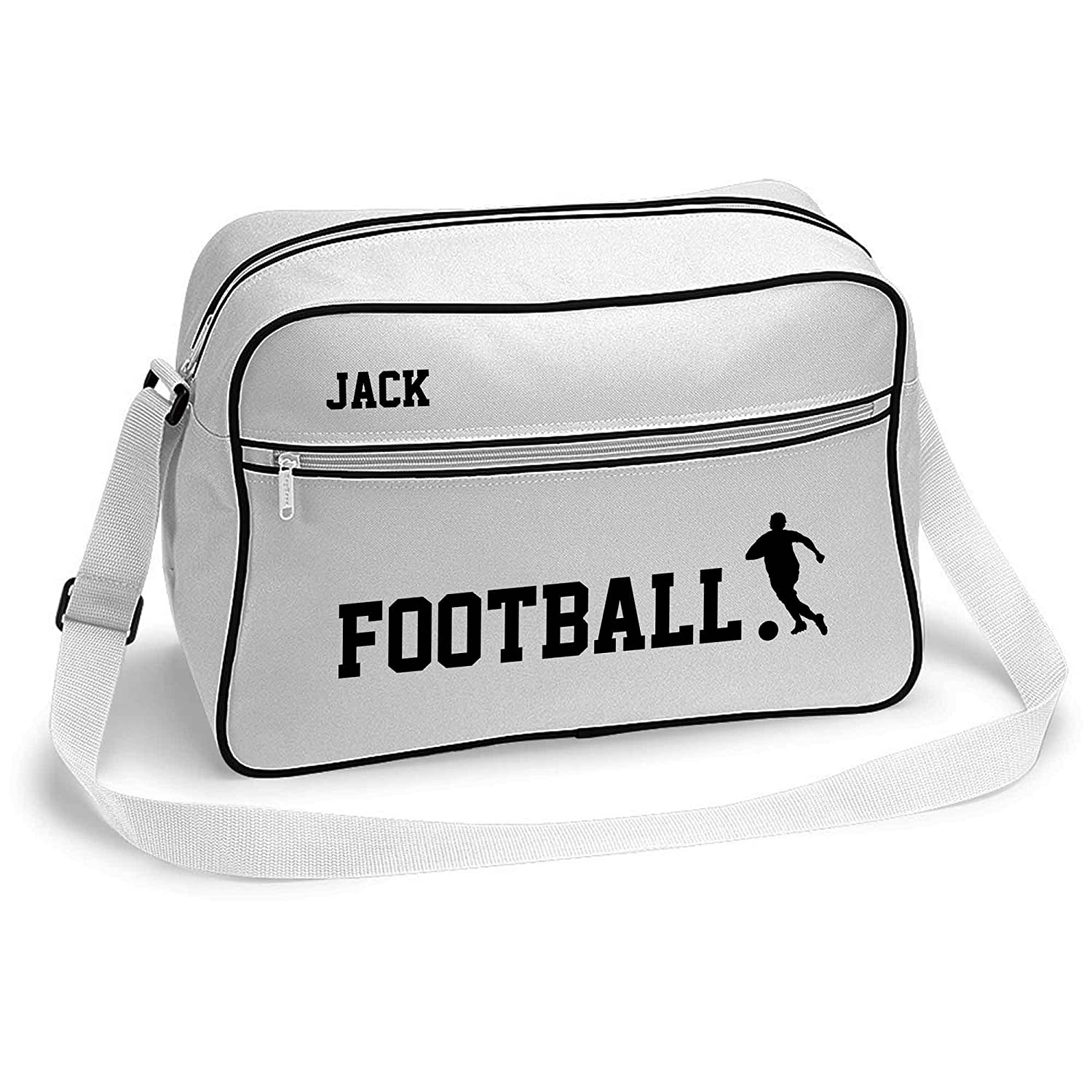 Football Sports Bag Holdall White or Black.Perfect for your Kit. Personalised Free Inspiredcreativedesign