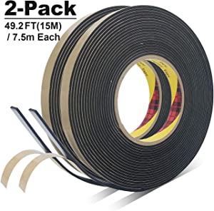 "TY High Density Foam Seal Adhesive Tape, Weather Stripping for Windows and Door, Waterproofing, Soundproofing, Insulation, Gasket Purpose, 9/16""Inch(Wide) x 1/16""Thick (2T) x 24.6""Feet, 2-Rolls"