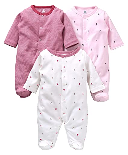 c0f3e618c75c I Bears Full Sleeves Footed Rompers Sets Pack of 3
