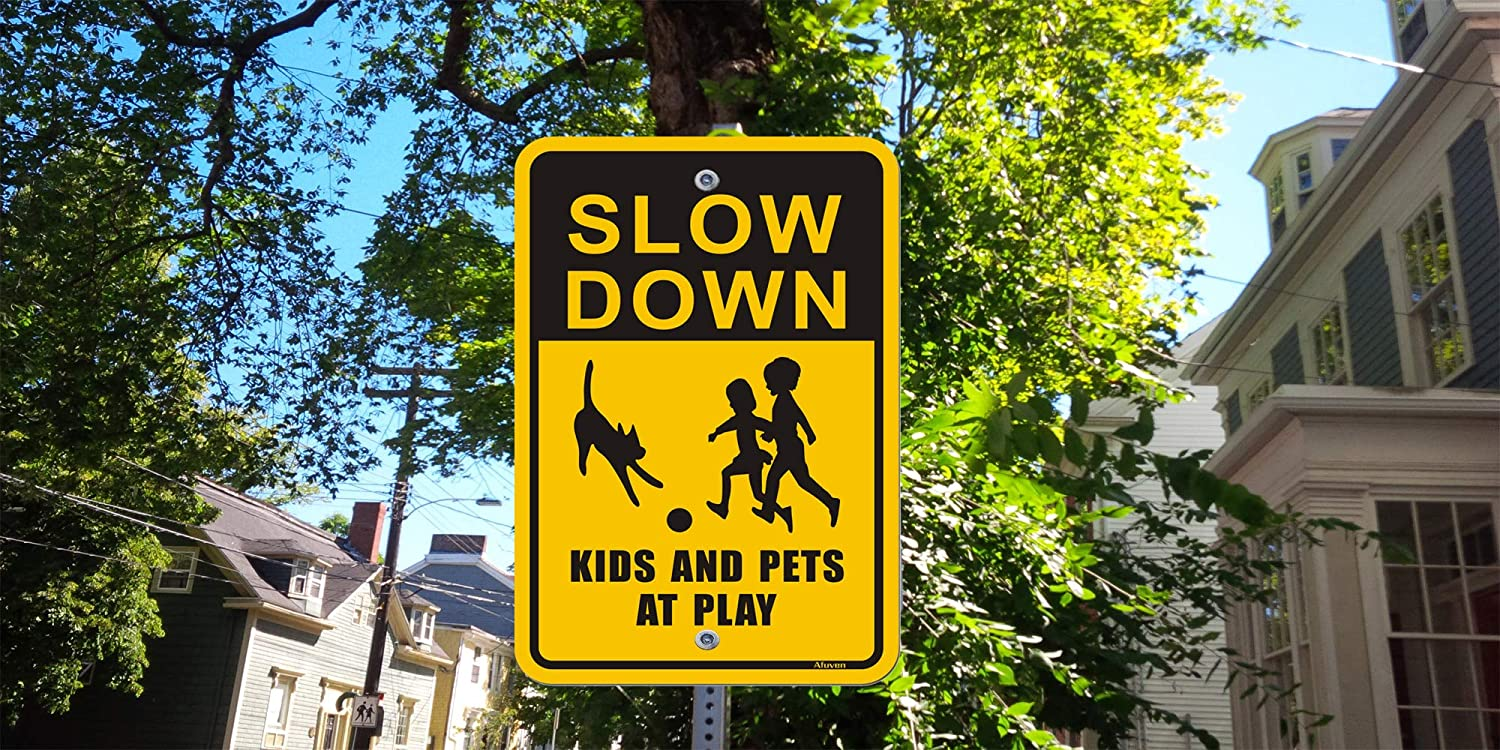 Children Play Signs Metal Reflective 12 x 18 Rust Free Aluminum Waterproof and Durable Ink Easy Mounting Outdoor Use 2-Pack Slow Down Kids and Pets at Play Signs
