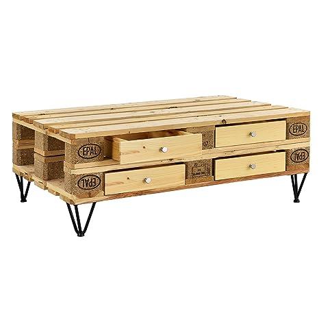 [en.casa]®] Cajón Elegante y Original para europalé - se Adapta Perfectamente - DIY - Madera (9,5cm x 37,5cm x 44,5 cm)