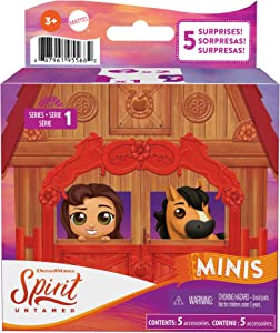 Mattel Spirit Untamed Surprise Mini Horse & Friend with 3 Accessories, Blind Box, Range of Horses & Characters, Makes a Great Gift for Ages 3 Years Old & Up [Styles May Vary], Multi (GXF86)