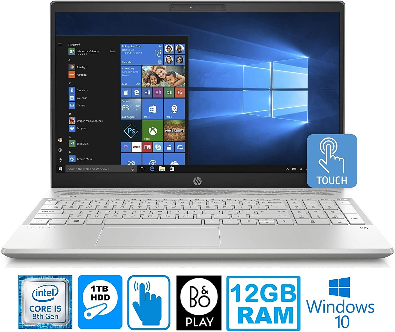 "HP Pavilion 15-CS Intel Core i5 8250U 12GB 1TB HDD 15.6"" Touch Screen Laptop (Renewed)"