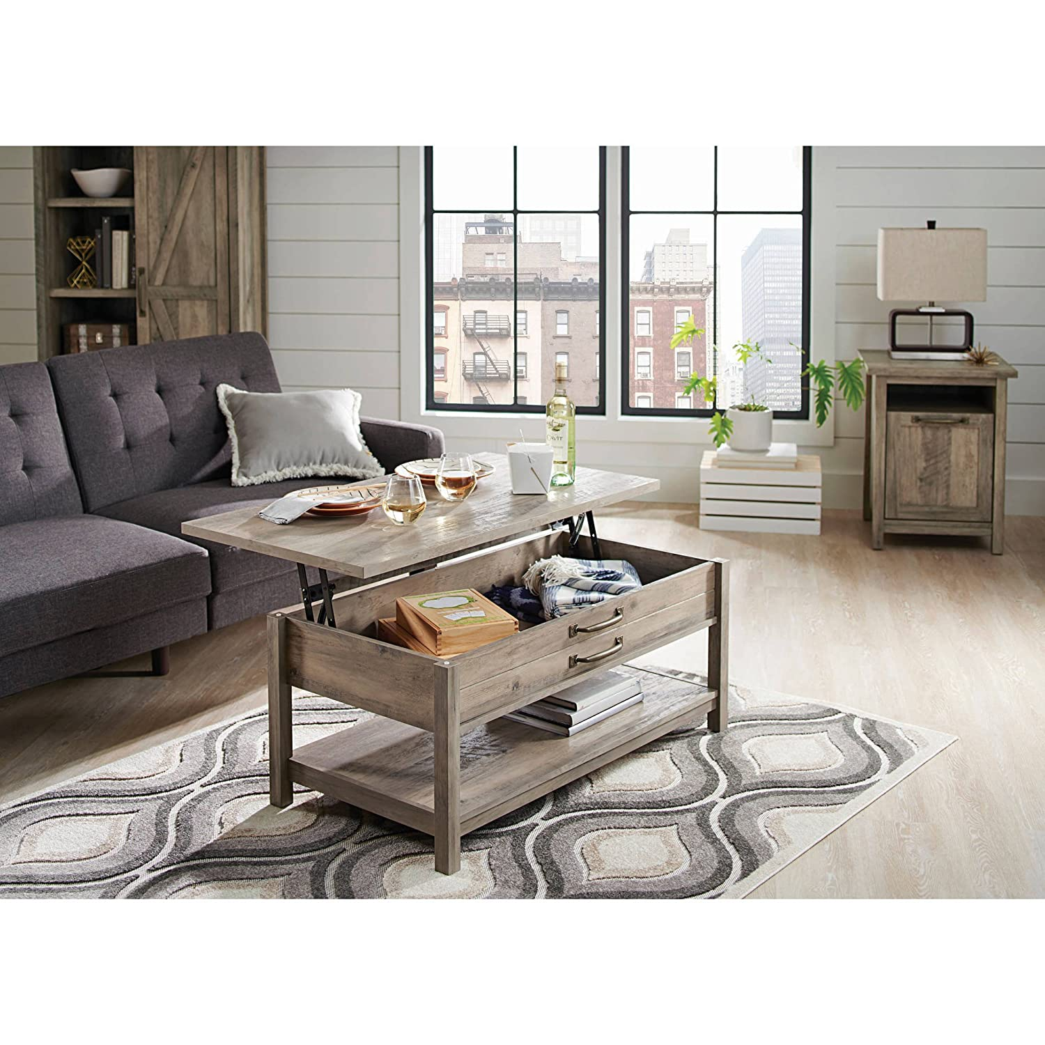 Amazon com better homes and gardens modern farmhouse top lifts up and forward coffee table rustic gray finish kitchen dining