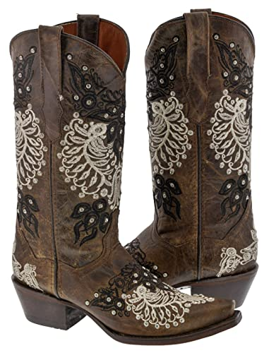 Women's Brown Embroidered Design Rhinestones Overlay Western Boots Snip Toe