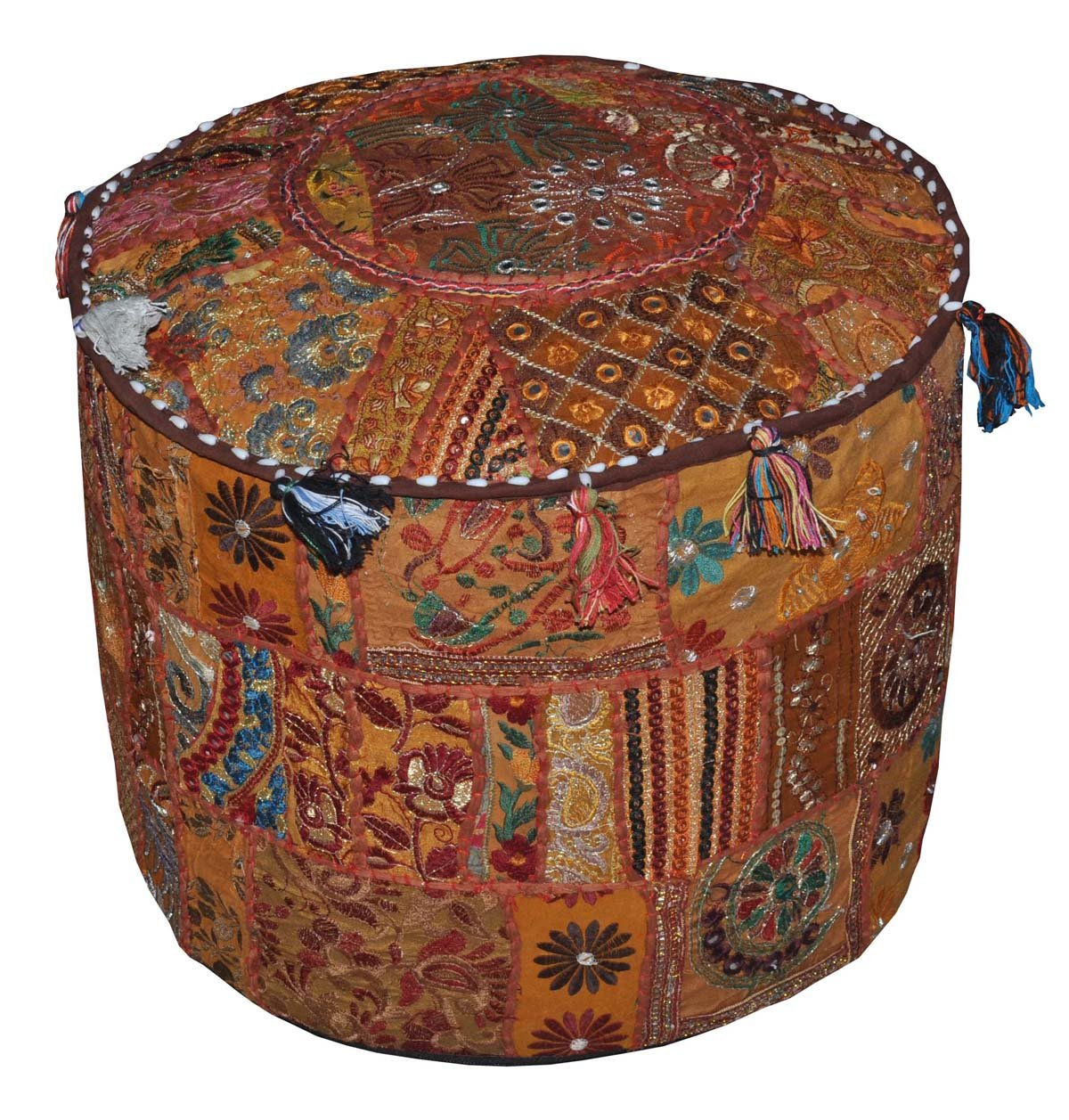 Indian Vintage Ottoman Embellished With Embroidery & Patchwork Foot Stool Floor Cushion, 46 X 33 Cm Marubhumi