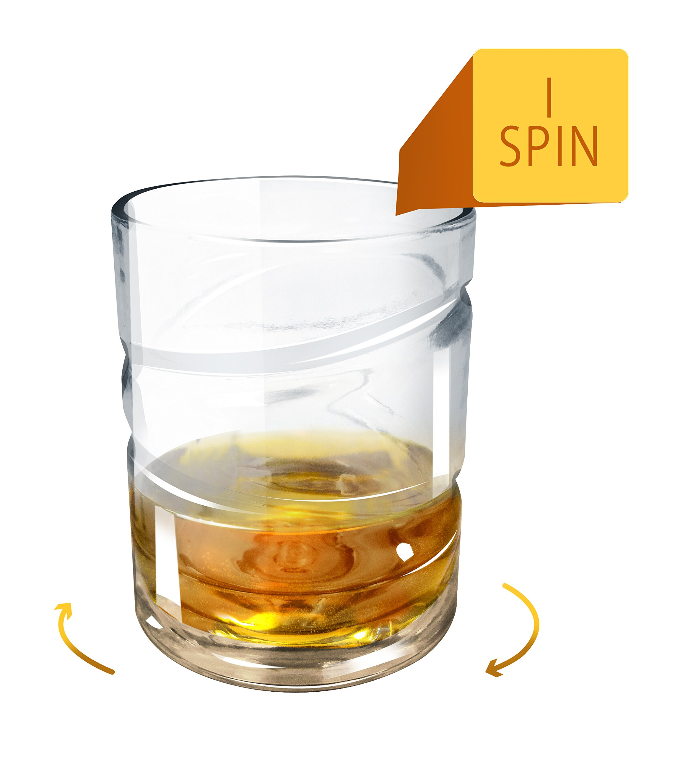 Epicureanist Helix Whiskey Glass - Rotating Whiskey Glass Tumbler Aerates your Favorite Spirits Unlocking Their Complex Flavors and Aromas - Set of 2