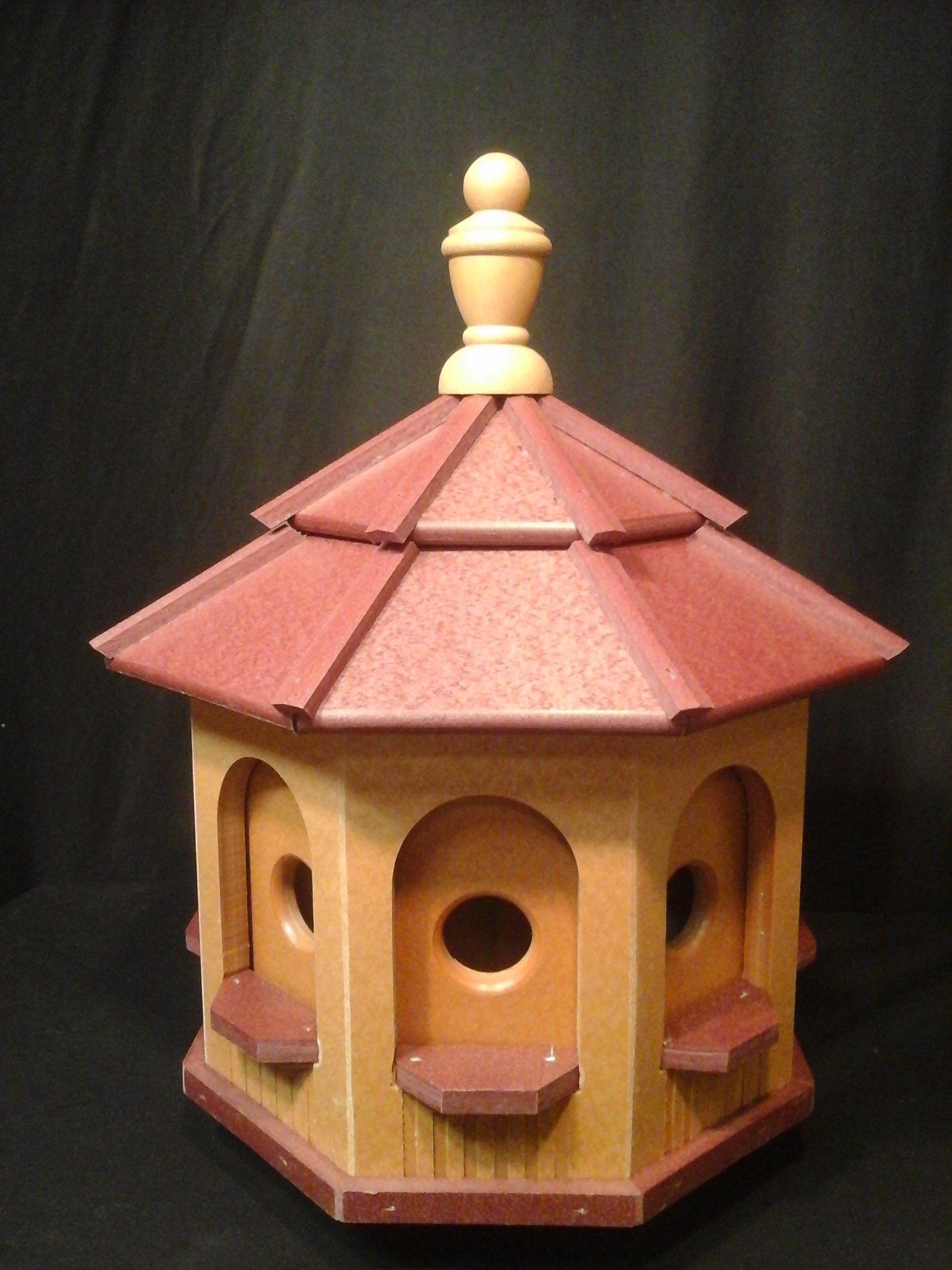 Medium Vinyl Birdhouse Amish Homemade Handmade Handcrafted Cedar & Red Roof