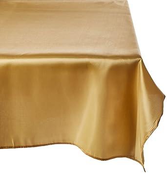 LinenTablecloth 60 X 126 Inch Rectangular Satin Tablecloth Gold