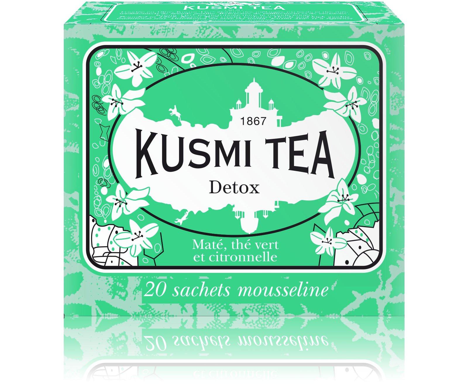Kusmi Tea - Detox - Natural Green Tea with Lemongrass, Scent of Lemon and Blend of Yerba Mate (20 Muslin Tea Bags)