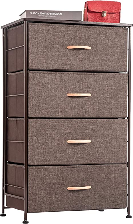 Amazon.com: WAYTRIM Fabric 4 Drawers Storage Organizer Unit Easy Assembly, Vertical Dresser Storage Tower For Closet, Bedroom, Entryway, Coffee: Home & Kitchen
