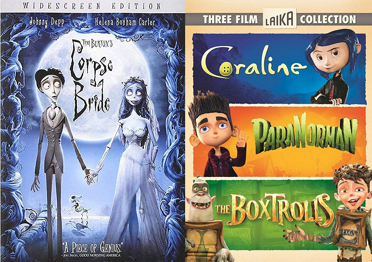 Amazon Com We Laika These Movies Animated Collection Corpse Bride Movie Tim Burton Coraline Paranorman Boxtrolls 4 Films Movies Tv