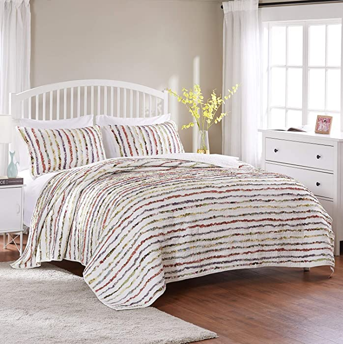 Greenland Home Bella Ruffled Quilt Set, 3-Piece King/Cal King, Multi