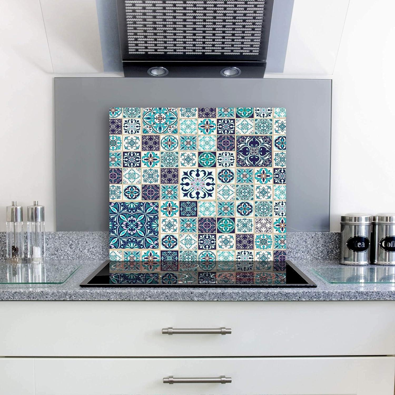 gsmarkt | Cubiertas para cubrir la vitrocerámica Protección antisalpicaduras Cristal 60 x 52 textura Azul Flores