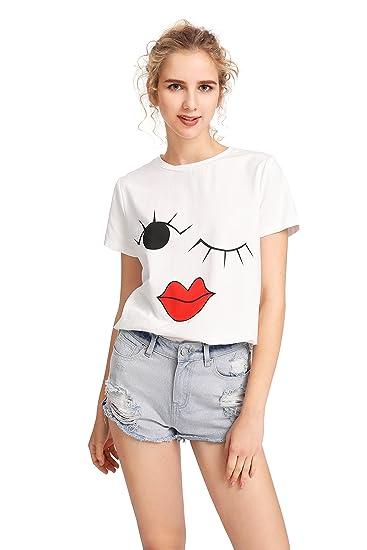 d9cb7b1a84e Amazon.com  SheIn Women s Cute Pattern Print Round Neck Short Sleeve T-Shirt  Top  Clothing